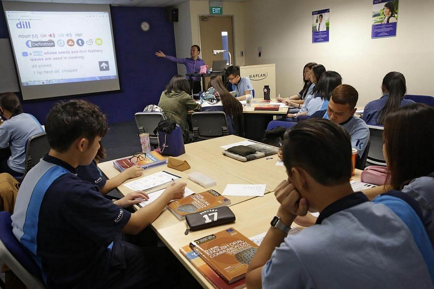 An O-level English preparatory class in session at Kaplan Higher Education.