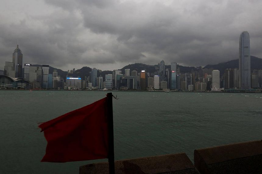 A general view of the island skyline as Typhoon Haima approaches in Hong Kong, China on Oct 21, 2016.