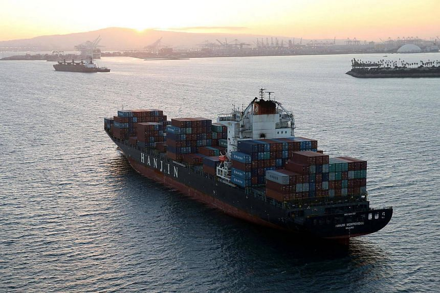 A Hanjin Shipping Co ship is seen stranded outside the Port of Long Beach, California.