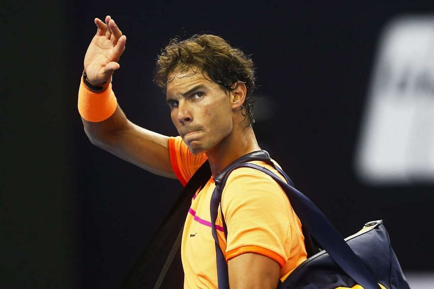 Nadal leaves the court after losing to Grigor Dimitrov of Bulgaria in the China Open, Oct 7, 2016.