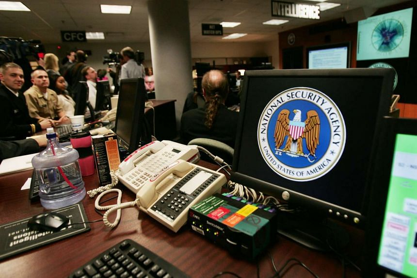 A computer workstation bearing the National Security Agency (NSA) logo is seen in a file photo.