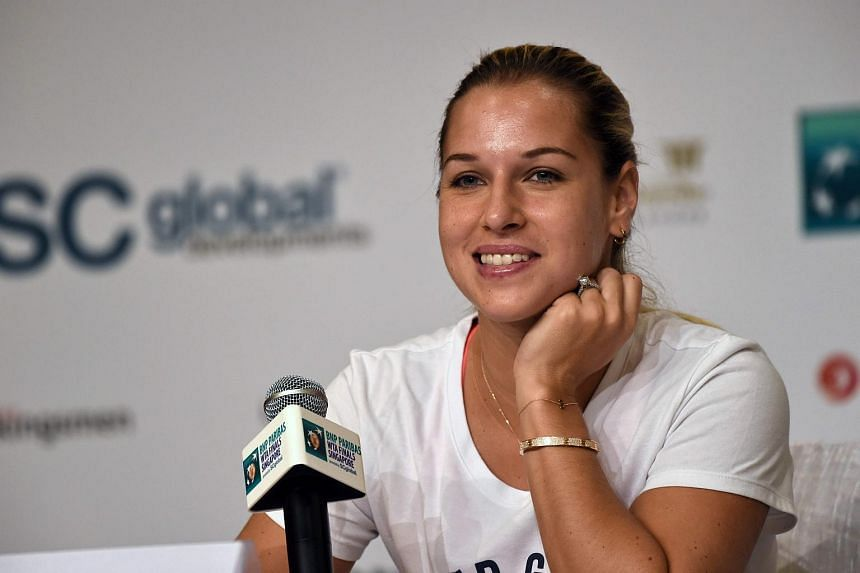 Dominika Cibulkova of Slovakia attends a press conference prior to the WTA Finals at Marina Bay Sands in Singapore on Oct 22, 2016.