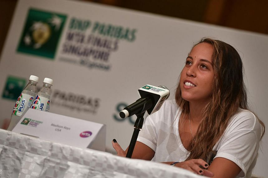 Madison Keys of the USA speaks during the WTA All Access Hour pre-tournament press conference at Marina Bay Sands on Oct 22, 2016.