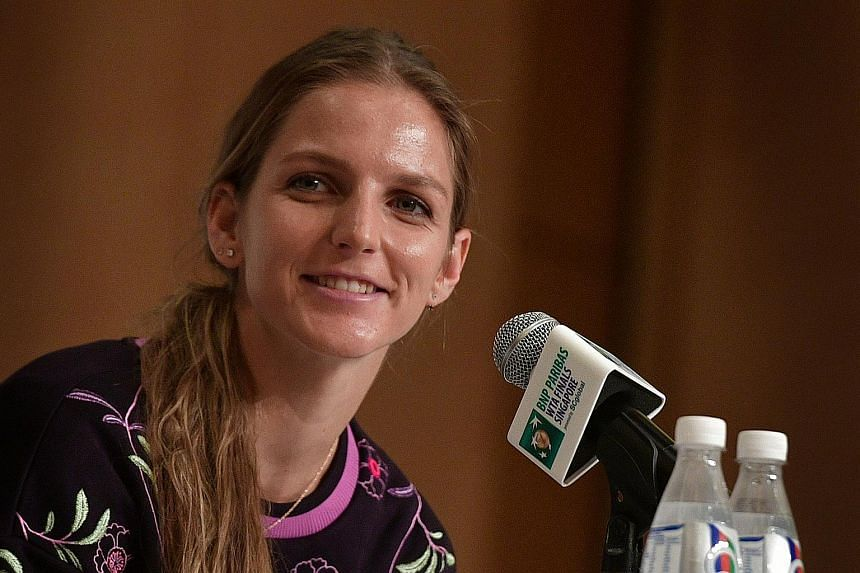 Karolina Pliskova of the Czech Republic speaks during the WTA All Access Hour pre-tournament press conference at Marina Bay Sands on Oct 22, 2016.