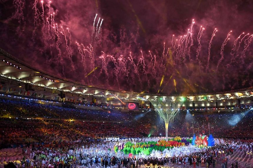 Fireworks explode over the Maracana stadium during the closing ceremony of the Rio 2016 Olympic Games in Rio de Janeiro on Aug 21, 2016.
