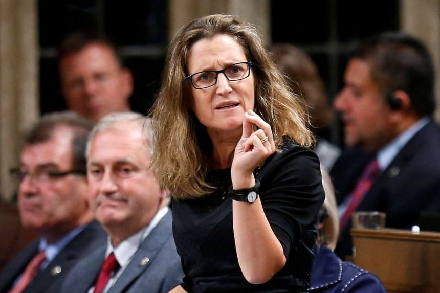 Canada's International Trade Minister Chrystia Freeland speaks during Question Period in the House of Commons on Parliament Hill in Ottawa, Ontario, Canada, on Oct 17, 2016.