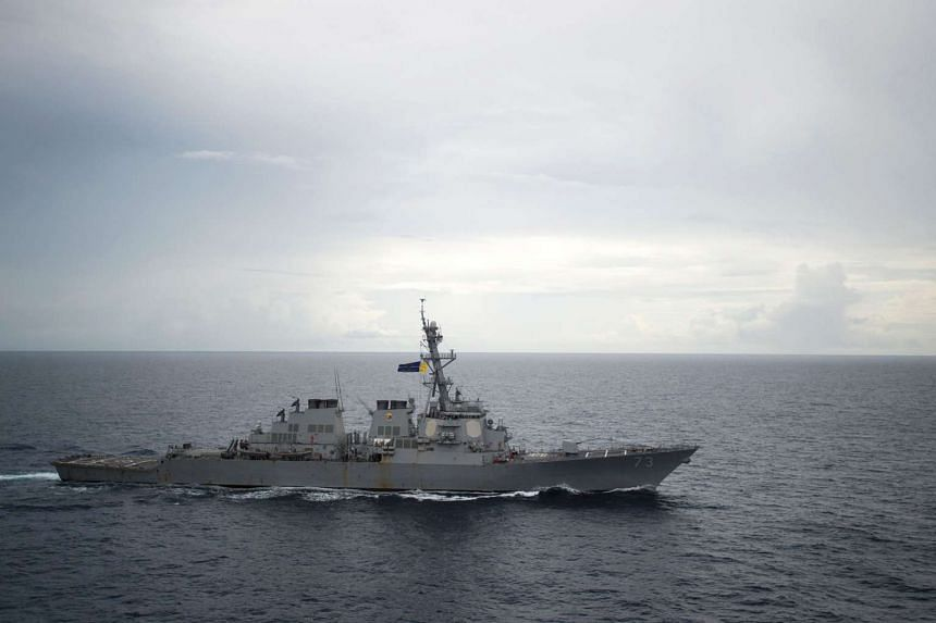 The guided-missile destroyer USS Decatur (DDG 73) as it operates in the South China Sea.