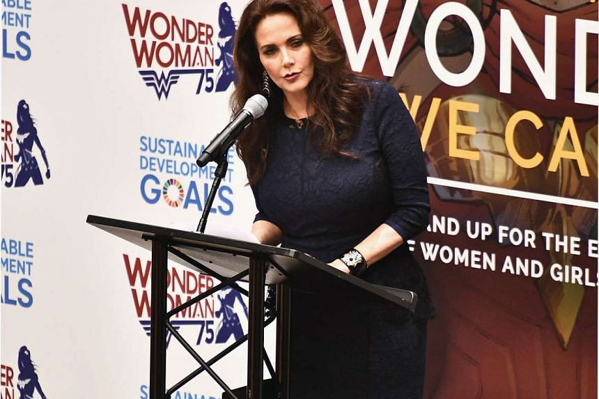Actress Lynda Carter attends the Wonder Woman UN Ambassador Ceremony at United Nations on Oct 21, 2016 in New York City.