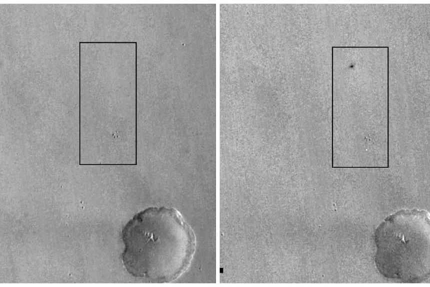 A combination of images shows the Schiaparelli landing site before (left) and after.