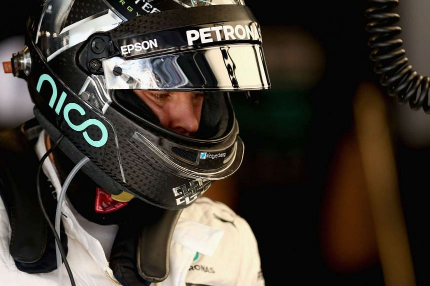 Rosberg in the garage during practice for the US Grand Prix.