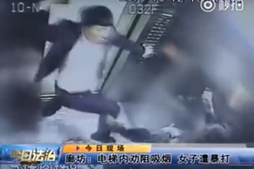 A video of a man assaulting a woman viciously in a lift after she asked him to stop smoking has sparked furore after it was circulated on China's social media.