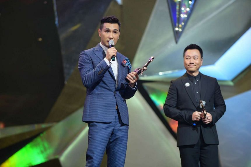 My Favourite TVB Actor winner Ruco Chan accepts his award at the Starhub TVB Awards 2016 on Oct 22, 2016.