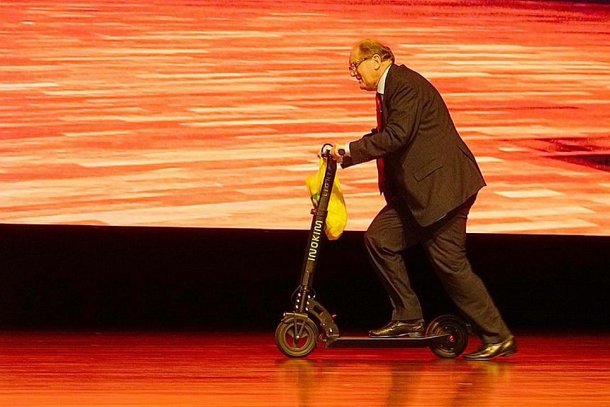 Bucking his parents' expectations meant Prof Andersson had to work extra hard to prove himself in school. Prof Andersson making an unusual stage entrance on an e-scooter at Nanyang Technological University's annual address earlier this year. Prof And