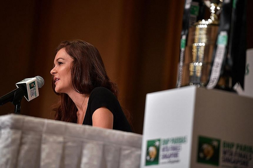 """Defending champion Agnieszka Radwanska at the pre-tournament press conference yesterday. """"Tennis is getting faster and faster,"""" she said."""