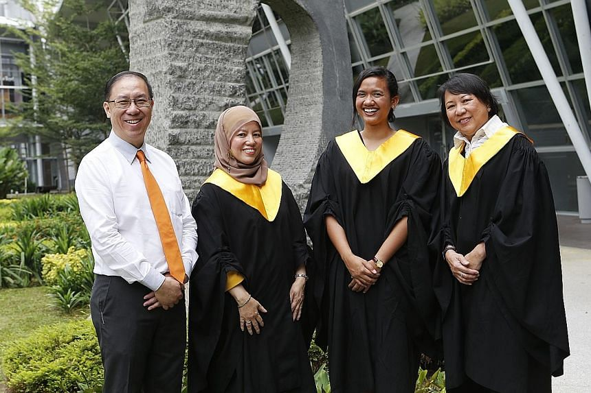Among the graduates and scholarship recipients at the SSI Graduation and Awards Ceremony yesterday were (from left) Mr Paul Long, 52; Madam Noraidah Haji Akib, 52; Ms Nasuha Ramin, 23; and Ms Lisel Lee Ying, 61, who was the oldest graduate in her bat