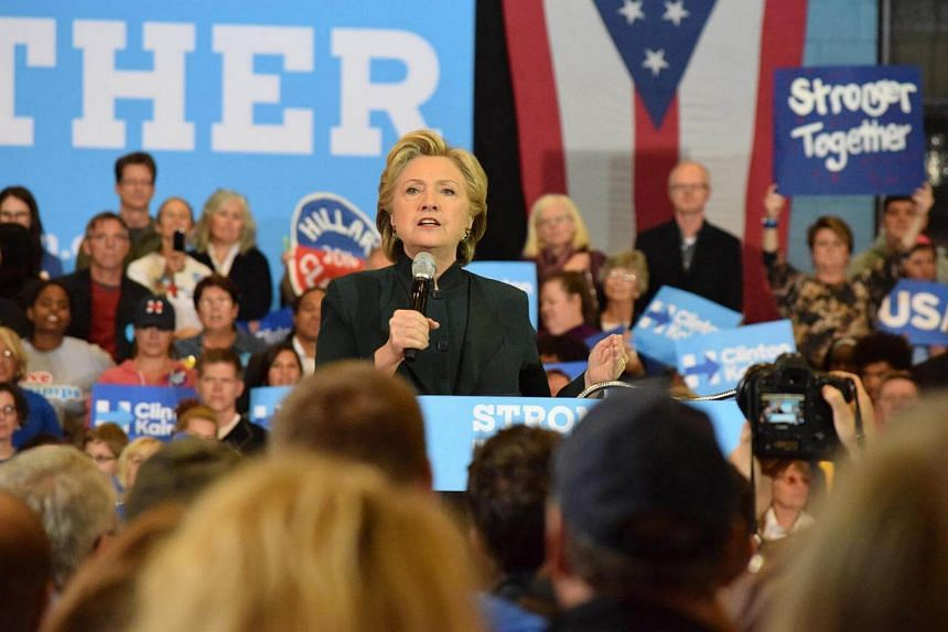 Hillary Clinton addresses supporters at the Cuyahoga Community College recreation centre in downtown Cleveland.