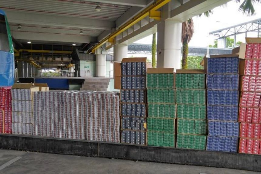 Cigarettes that were seized by ICA officers at the Tuas checkpoint on Oct 22, 2016.