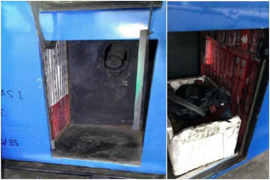 The contraband cigarettes were found hidden in modified compartments in a Malaysia-registered bus.