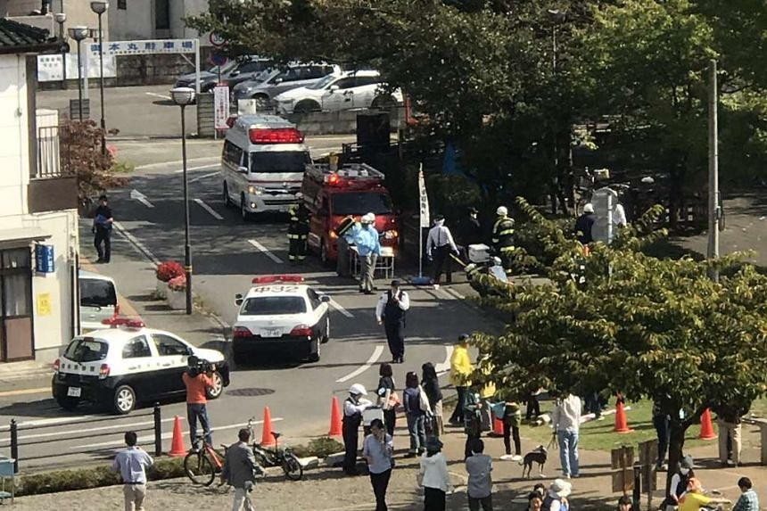 Emergency vehicles seen in the vicinity of the park in Utsunomiya.