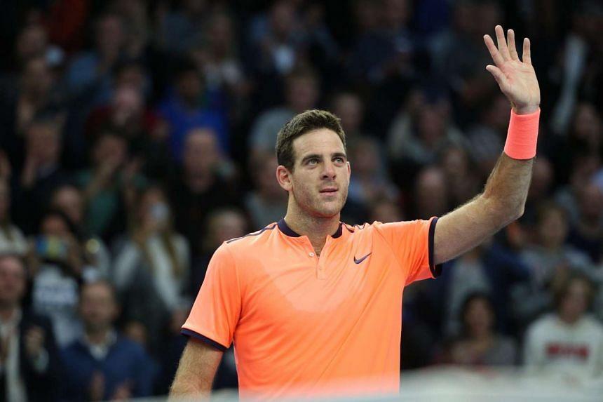 Spain's Juan Martin del Potro gestures after victory against Grigor Dimitrov of Bulgaria.