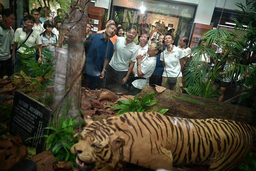 National Development Minister Lawrence Wong (centre), accompanied by Holland-Bukit Timah GRC MPs Vivian Balakrishnan (left) and Sim Ann (right), takes a tour of the Bukit Timah Nature Reserve Exhibition Hall.