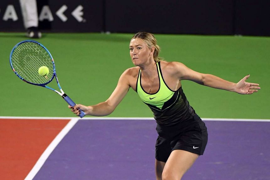 Maria Sharapova competing in the Elton John AIDS Foundation charity event in Las Vegas on Oct 10, 2016.
