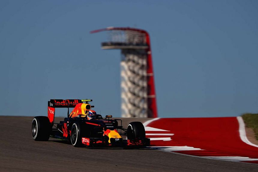 Verstappen on the track during final practice for the United States Formula One Grand Prix.