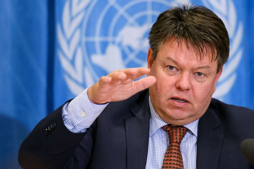World Meteorological Organisation Secretary-General Petteri Taalas gestures during a press briefing on Sept 28, 2016.