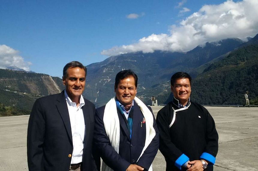 US Ambassador to India Richard Verma (left) with Indian officials on his recent trip to Arunachal Pradesh.