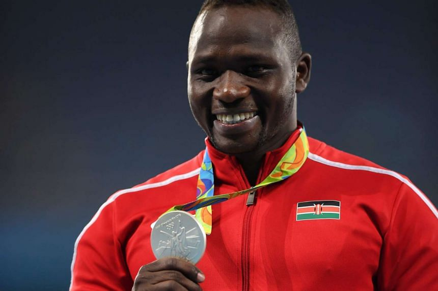 Kenya's Julius Yego poses on the podium for the Men's Javelin throw final on Aug 20, 2016.