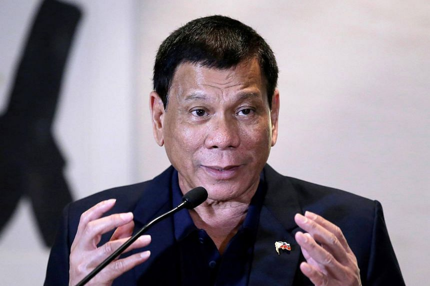 President of the Philippines Rodrigo Duterte attending a news conference during his visit in Beijing.