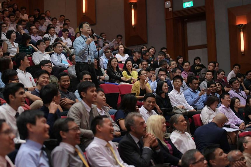 Participants in a dialogue session in Singapore Institute of Technology (SIT) on Oct 24, 2016.