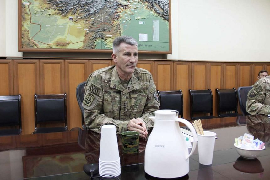 US Army General John Nicholson looks on during an interview in Kabul on Oct 23, 2016.