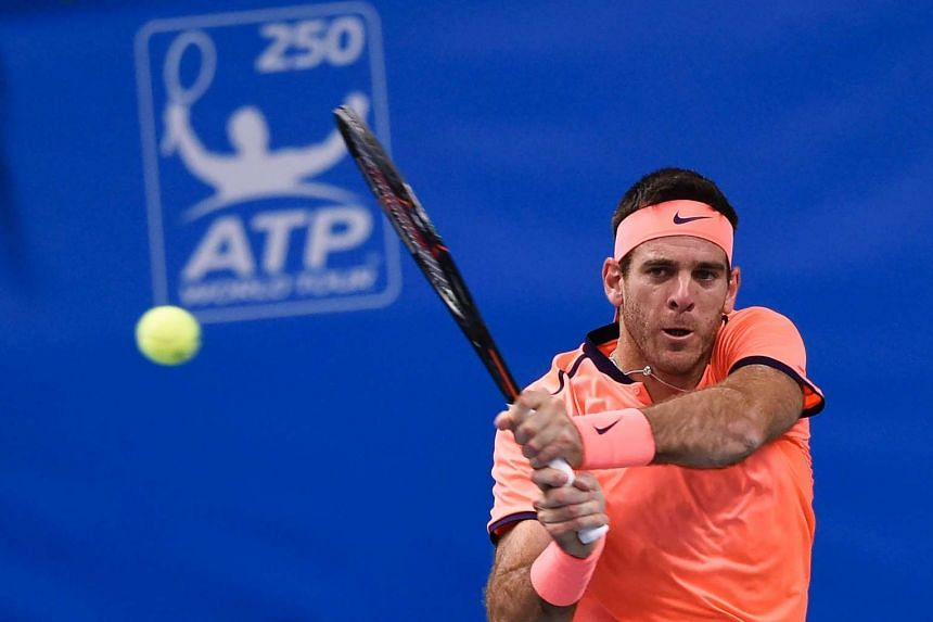 Juan Martin Del Potro returns the ball to USA's Jack Sock during the final match of ATP Stockholm Open on Oct 23, 2016.