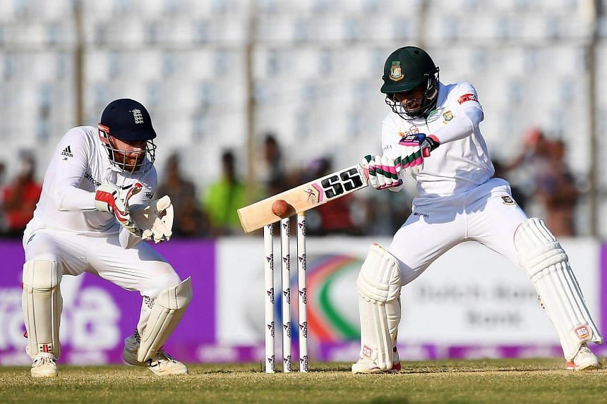 Bangladesh' Sabbir Rahman plays a shot during the fourth day of the first Test match between Bangladesh and England, on Oct 23, 2016.