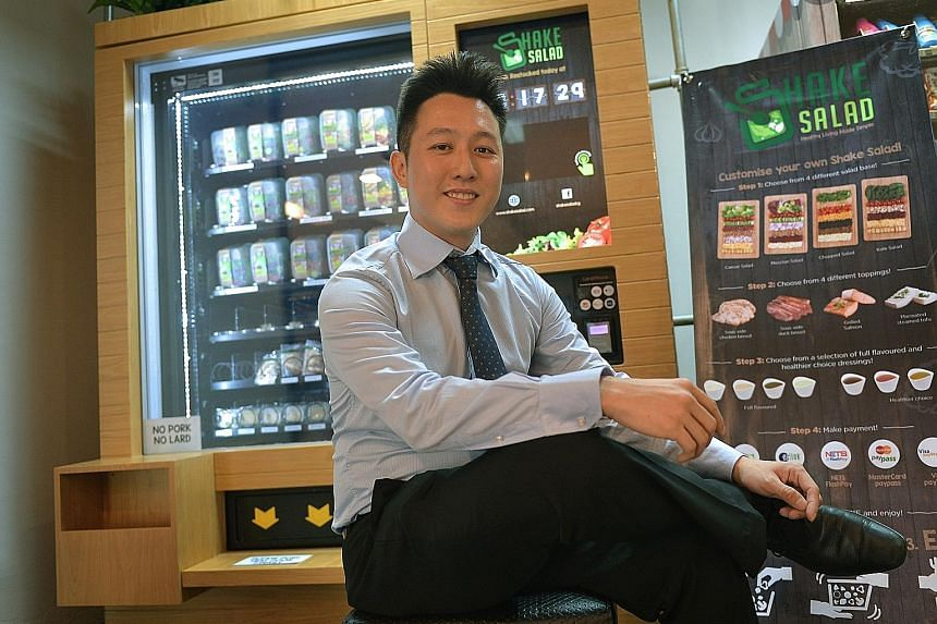 Dr Heng, a former national sailor, started Shake Salad after obtaining his PhD in mechanical engineering with a focus on biofuels from the University of California, Los Angeles, last year. Shake Salad machines have been launched at RELC International