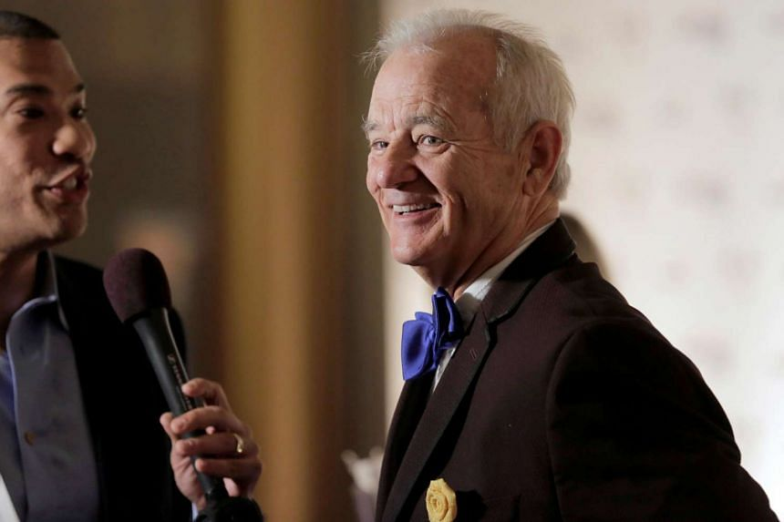 Bill Murray speaks to the media as he arrives to receive the 19th annual Mark Twain Prize For American Humor on Oct 23, 2016.
