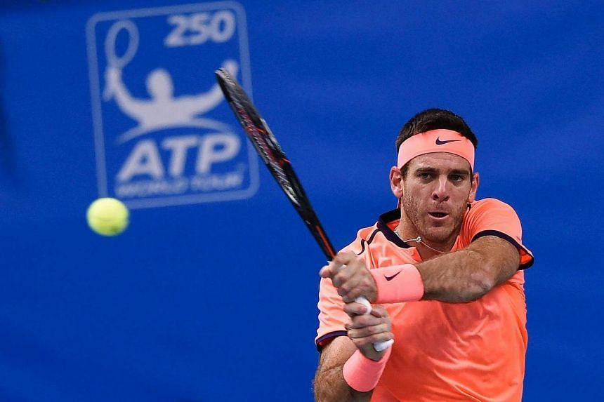 Argentina's Juan Martin Del Potro returns the ball to USA's Jack Sock during the final match of ATP Stockholm Open tennis tournament in Stockholm on Oct 23, 2016.