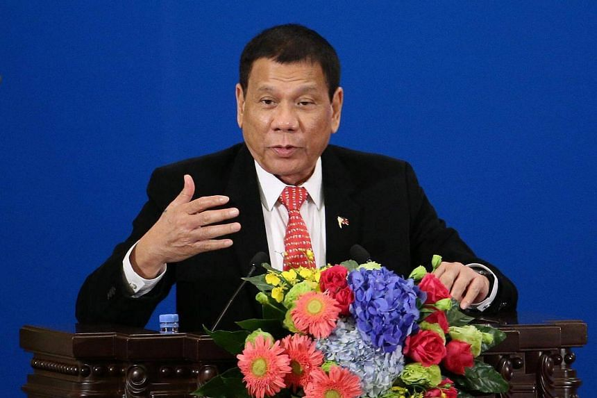 Philippines President Rodrigo Duterte making a speech during the Philippines - China Trade and Investment Forum at the Great Hall of the People in Beijing, China, on Oct 20, 2016.