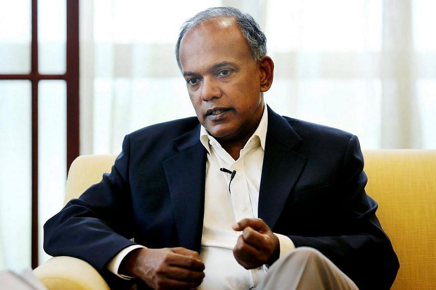 """Home Affairs and Law Minister K. Shanmugam has hit out at """"outright falsehoods"""" in an article about the elected presidency on a sociopolitical website."""
