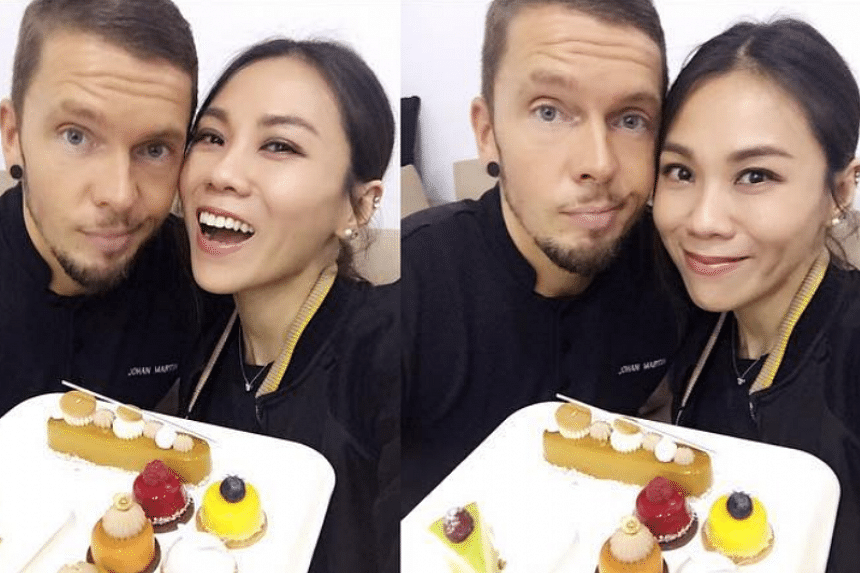 Tanya Chua and Johann Martin holding desserts in an Instragram post on Oct 15, 2016.