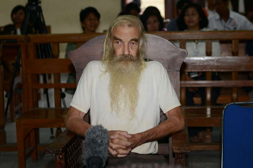Robert Andrew Fiddes Ellis attends his trial in Denpasar, Bali on Oct 25, 2016.