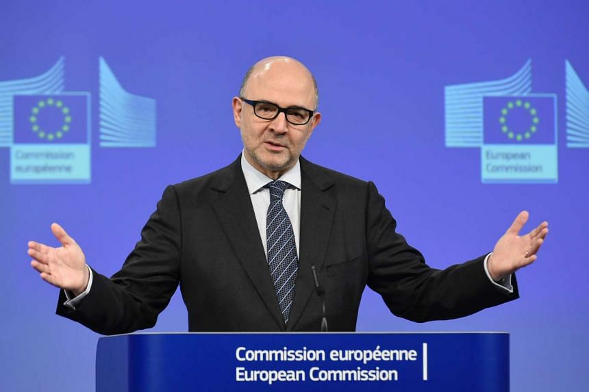 This file photo taken on Feb 5, 2016 shows EU Commissioner for Economic and Financial Affairs, Taxation and Customs Pierre Moscovici giving a press conference to present the European Commission's adopted Opinion on Portugal's 2016 Draft Budgetary Pla