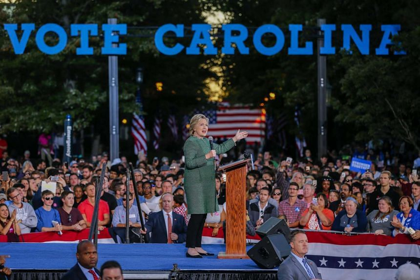 The US Democratic Party presidential nominee Hillary Clinton participates in a campaign event at the University of North Carolina at Charlotte in Charlotte, North Carolina, USA, Oct 23, 2016.