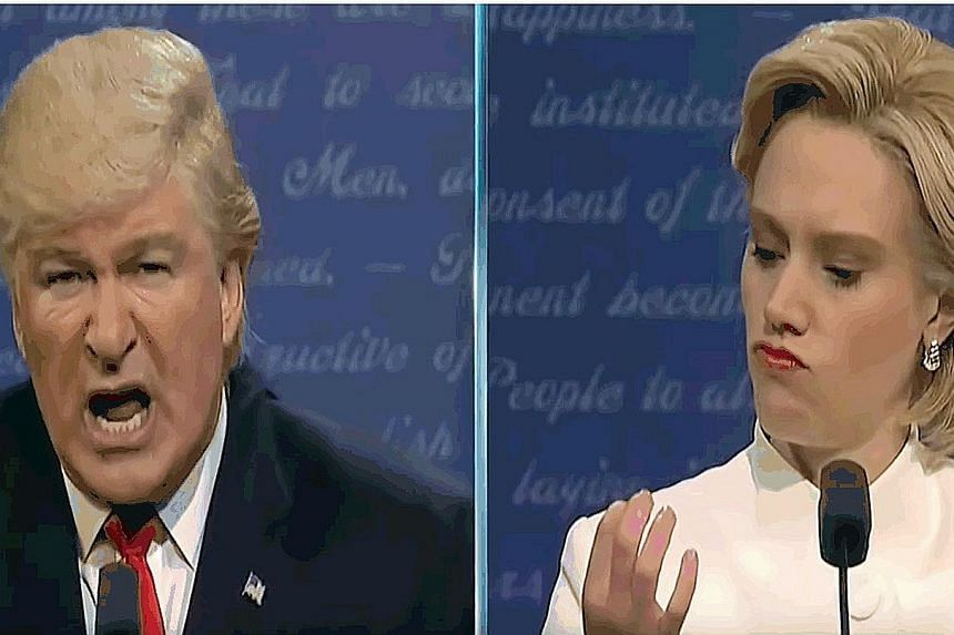 Alec Baldwin reprises his role as Mr Donald Trump, while Kate McKinnon (both above) takes on the role of Mrs Hillary Clinton again.