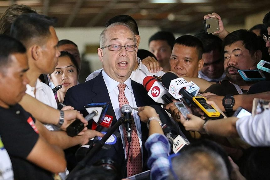 US Assistant Secretary of State Daniel Russel speaking to members of the press after a meeting with Philippine Foreign Minister Perfecto Yasay.