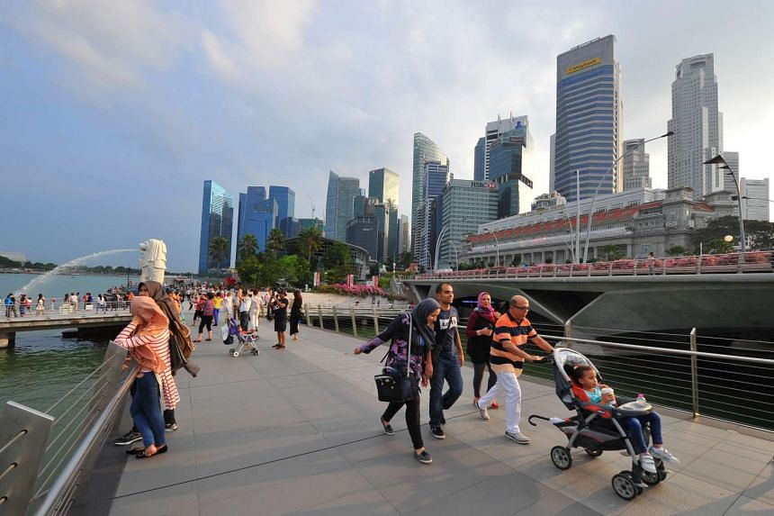 Skyline of the Central Business District in Singapore.