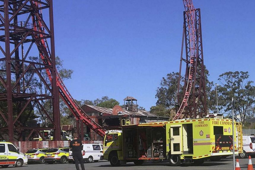 Emergency services vehicles seen outside the Dreamworld theme park at Coomera in Gold Coast.