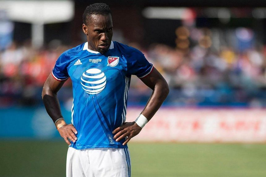 Didier Drogba pauses between plays during an MLS All-Star match against Arsenal at Avaya Stadium in San Jose, California.
