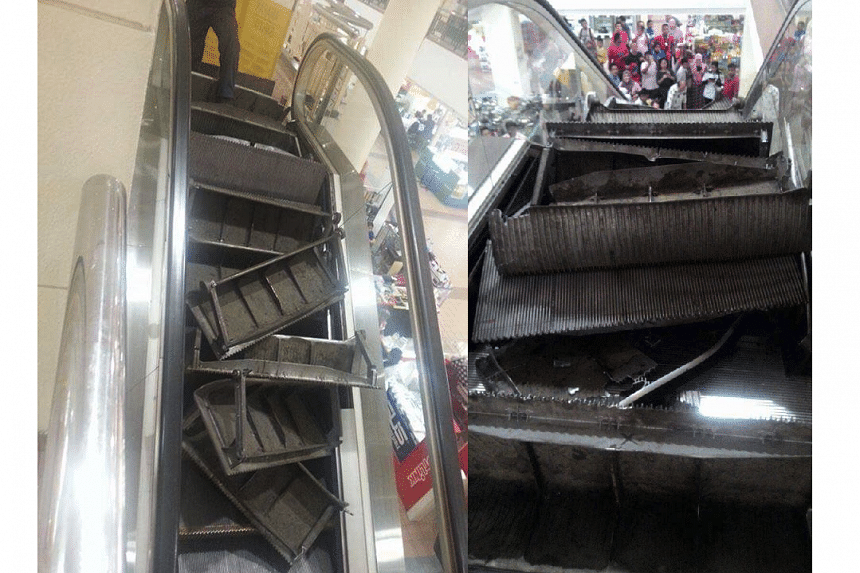 Several metal plates of an escalator decoupled and created a few explosive noisesat the Pandan Kapital shopping mall in Kuala Lumpur on Oct 25, 2016.